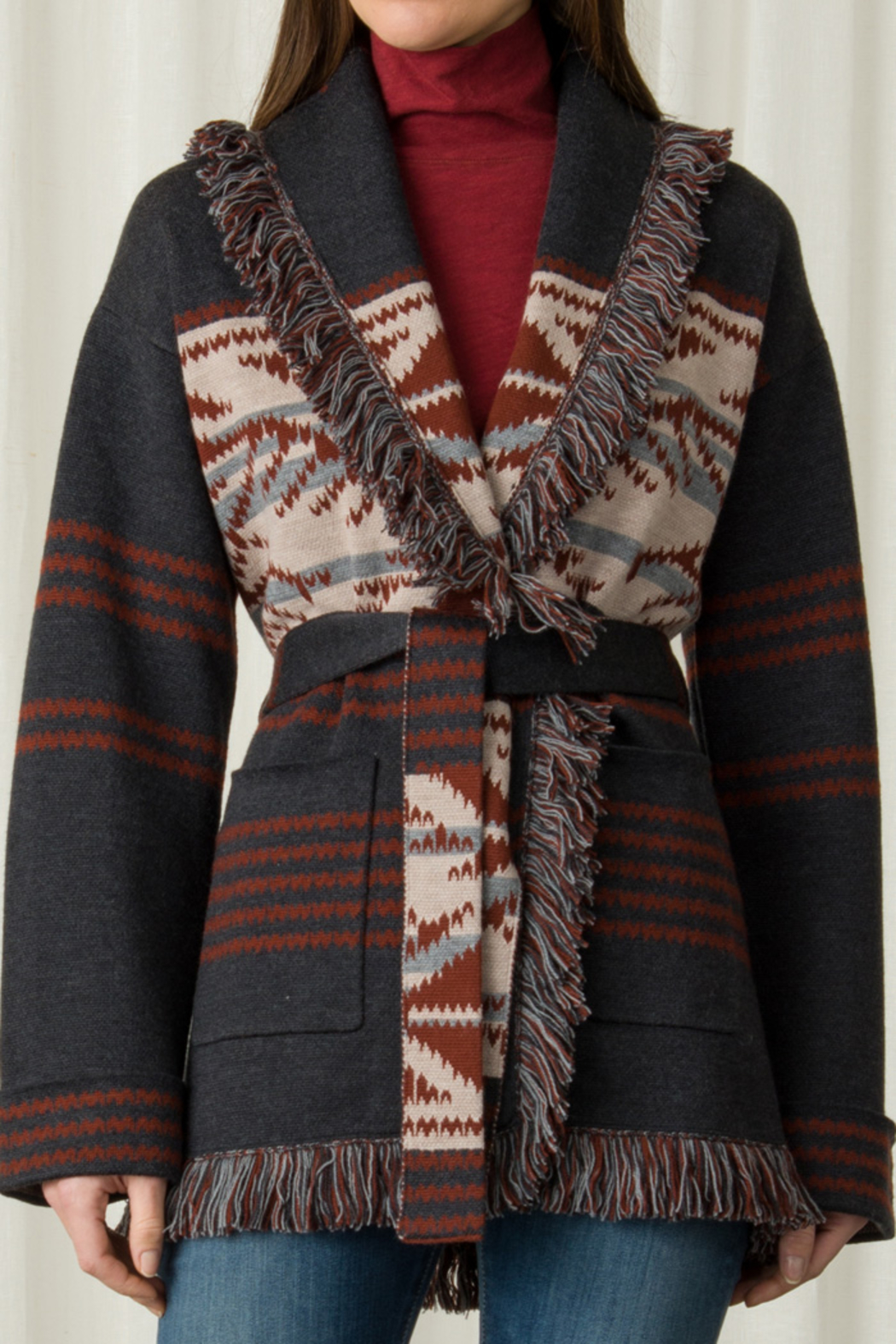 Margaret O'Leary MARGARET O'LEARY NAVAJO SHAWL COAT - Front Cropped Image