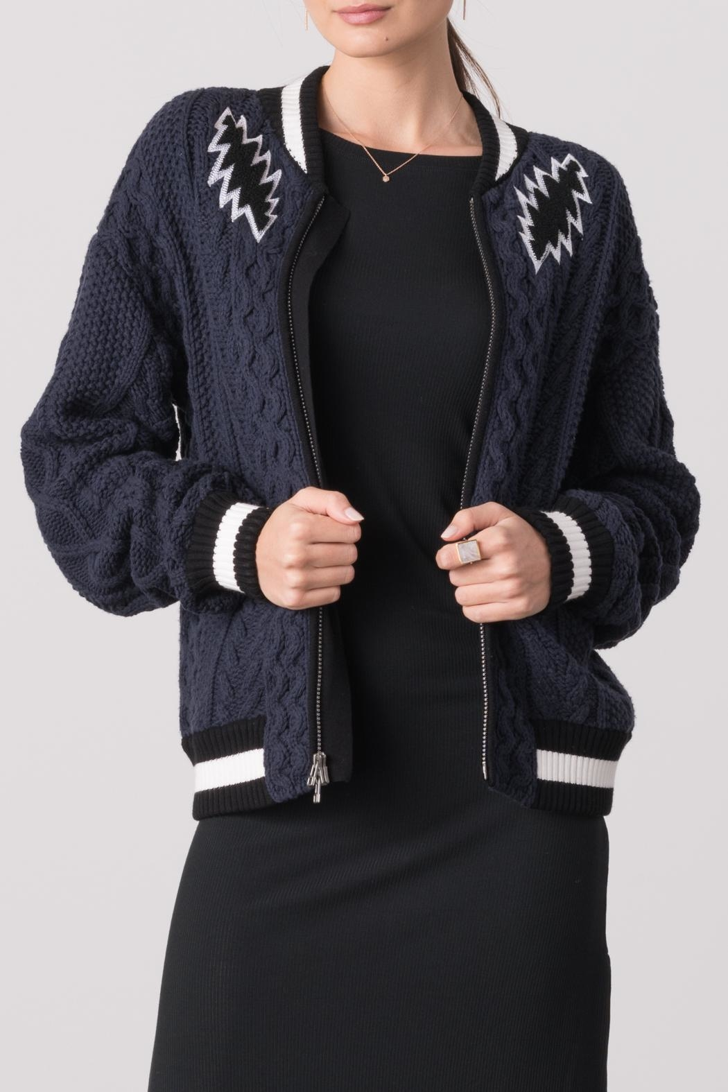 Margaret O'Leary Cabled Embroidery Bomber Jacket - Front Cropped Image