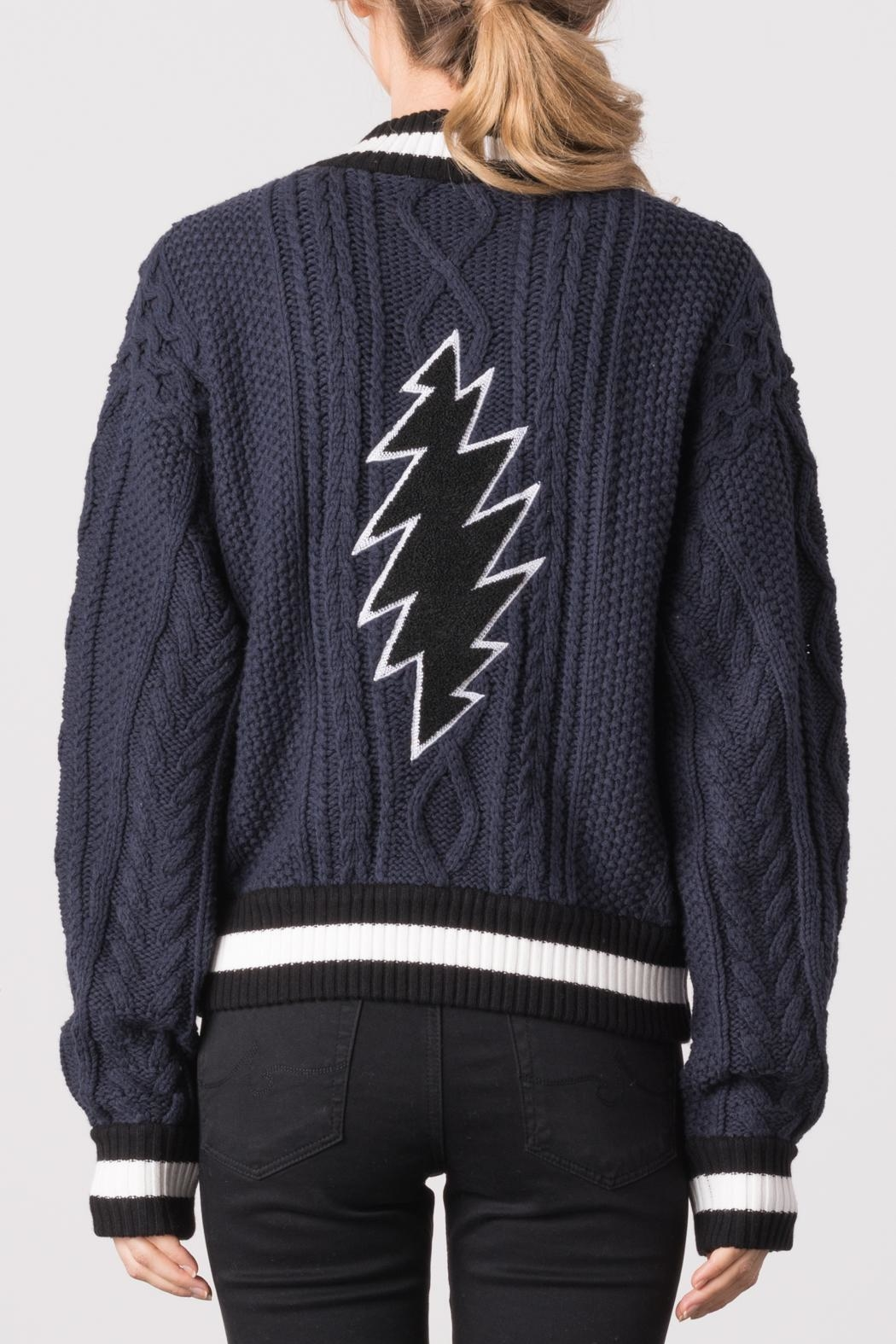 Margaret O'Leary Cabled Embroidery Bomber Jacket - Side Cropped Image