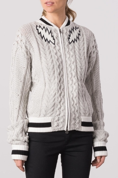 Shoptiques Product: Cabled Embroidery Bomber Jacket
