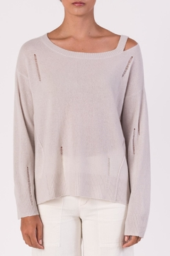 Shoptiques Product: Distressed Long Sleeve Sweater