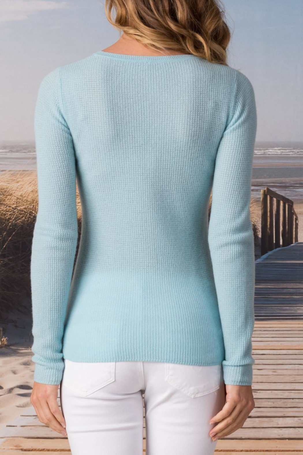 Margaret O'Leary Cashmere Waffle Crew - Side Cropped Image
