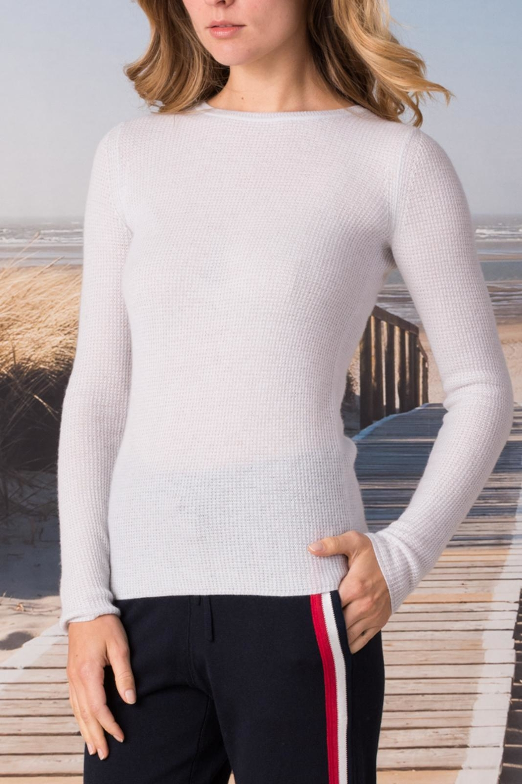 Margaret O'Leary Cashmere Waffle Crew - Front Cropped Image