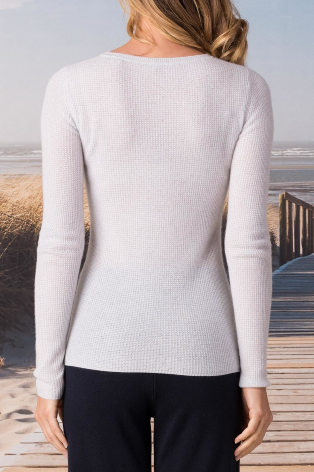Margaret O'Leary Cashmere Waffle Crew - Front Full Image