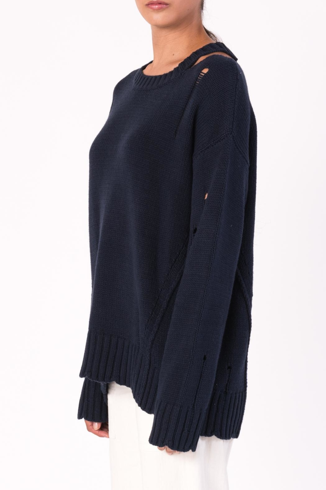 Margaret O'Leary Cotton Grunge Sweater - Back Cropped Image