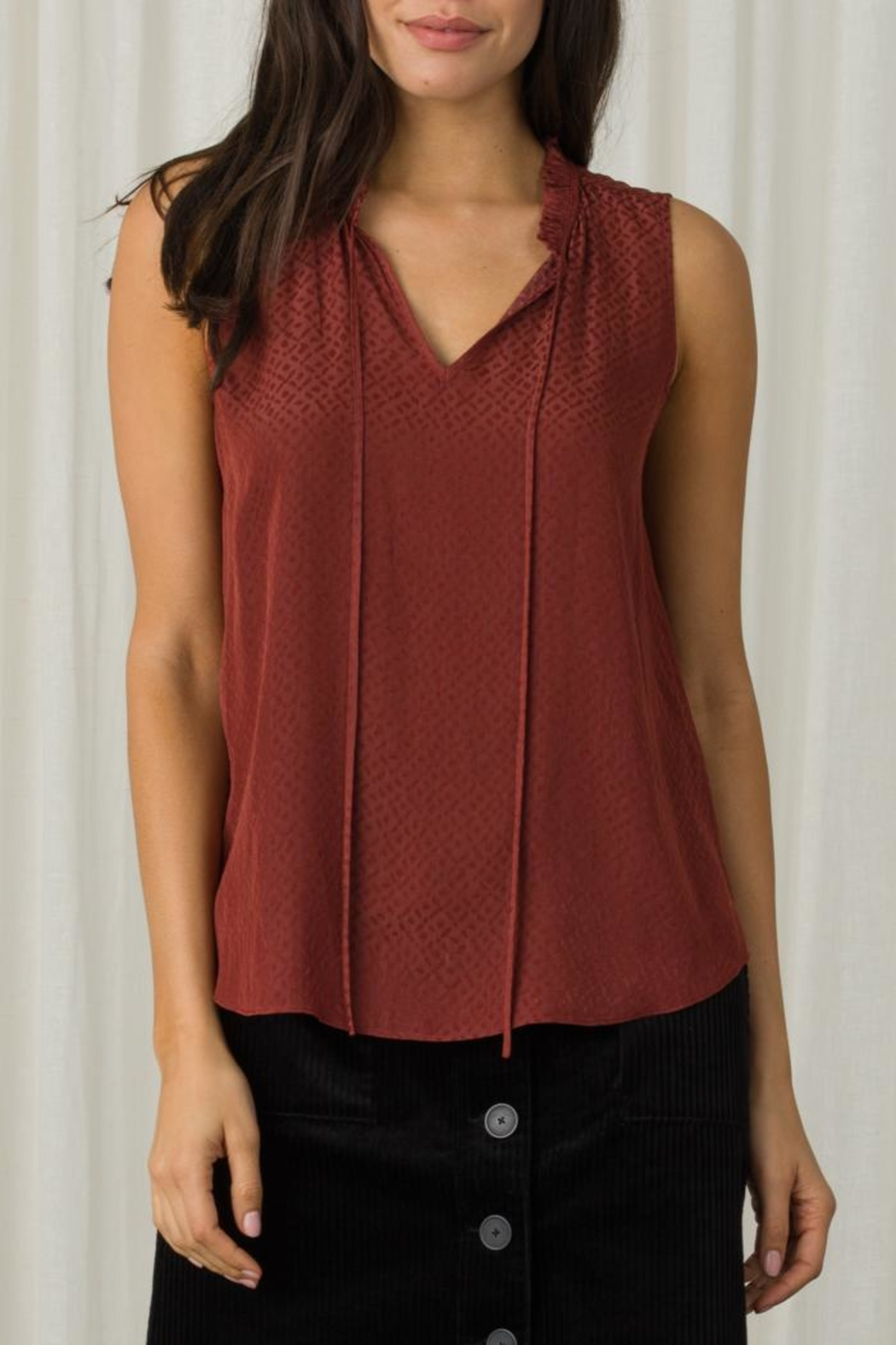 Margaret O'Leary Sleeveless Tie Top - Front Cropped Image