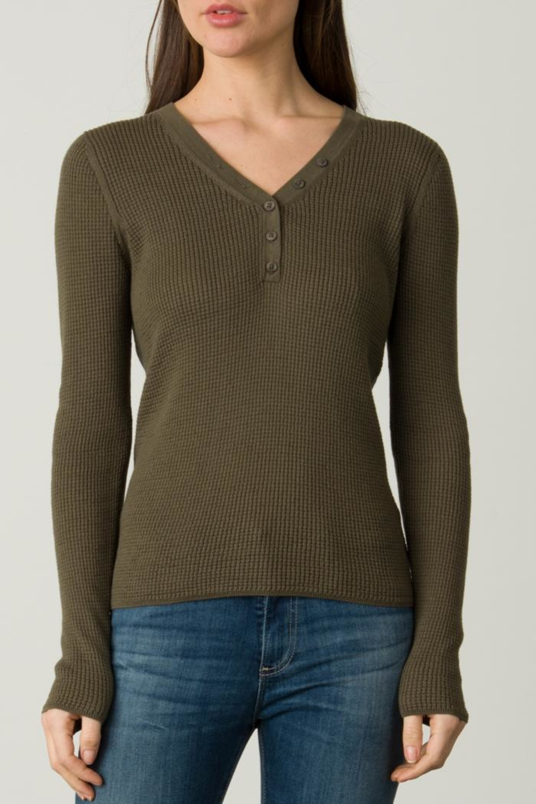 Margaret O'Leary Waffle Henley - Front Cropped Image