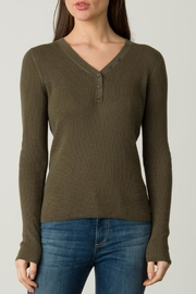 Margaret O'Leary Waffle Henley - Front cropped