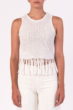 Margaret O'Leary White Fringe Tank - Product List Image