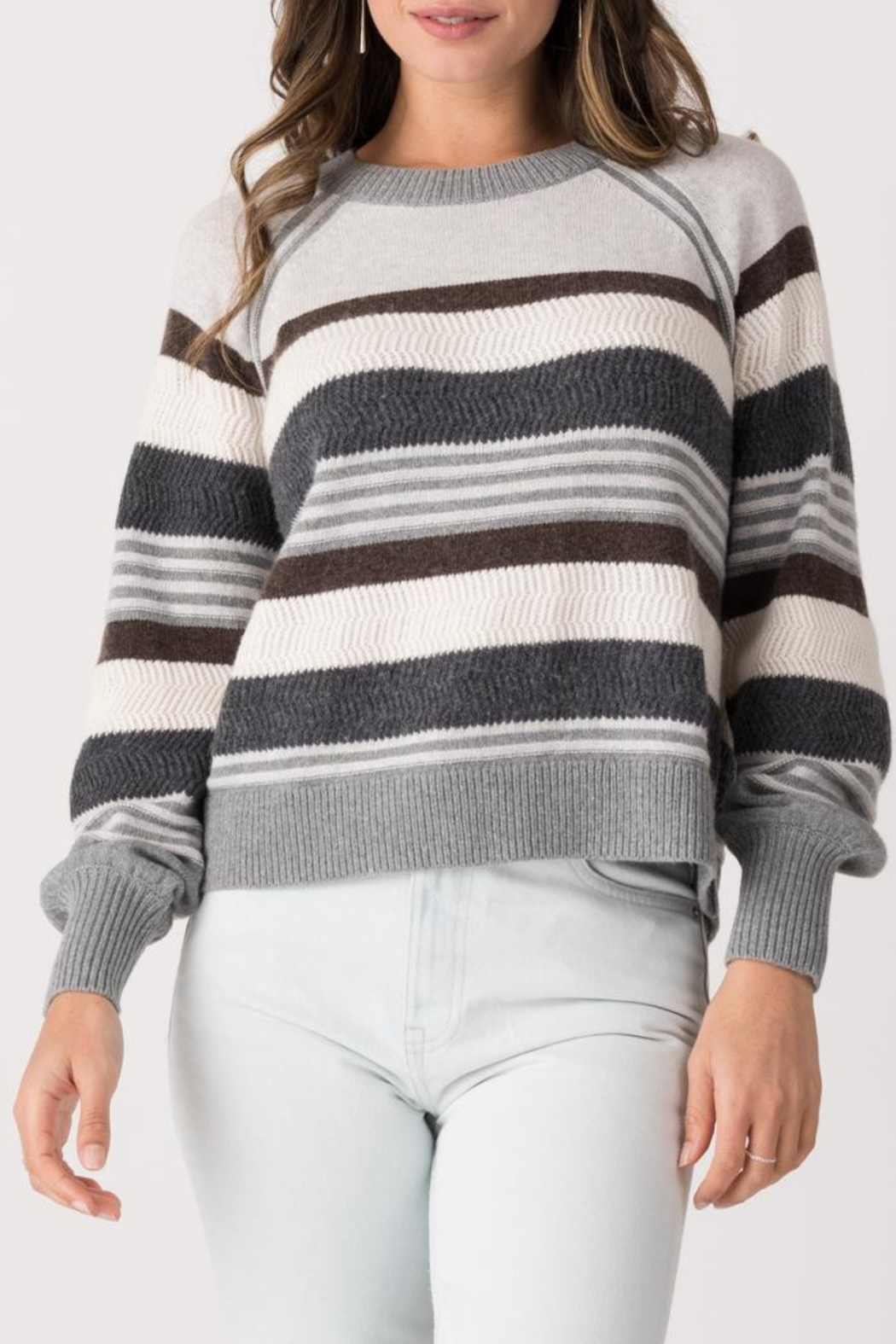 Margaret O'Leary Zoey Striped Crew - Front Cropped Image