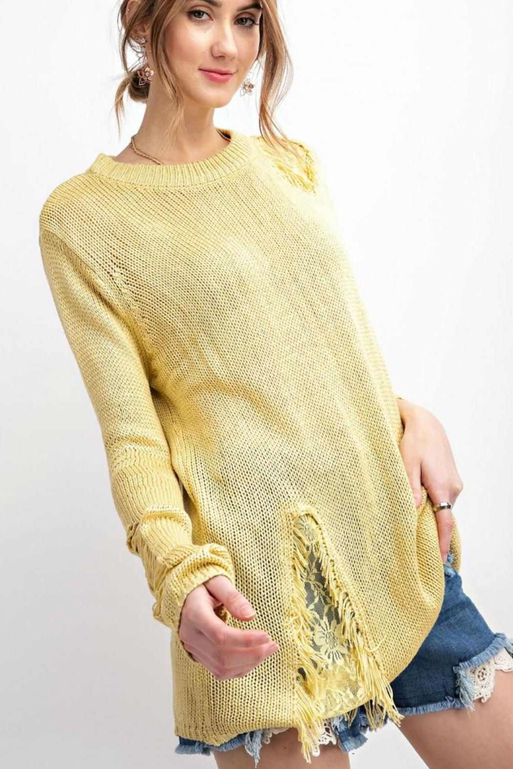 easel Margarita Ripped Sweater - Side Cropped Image
