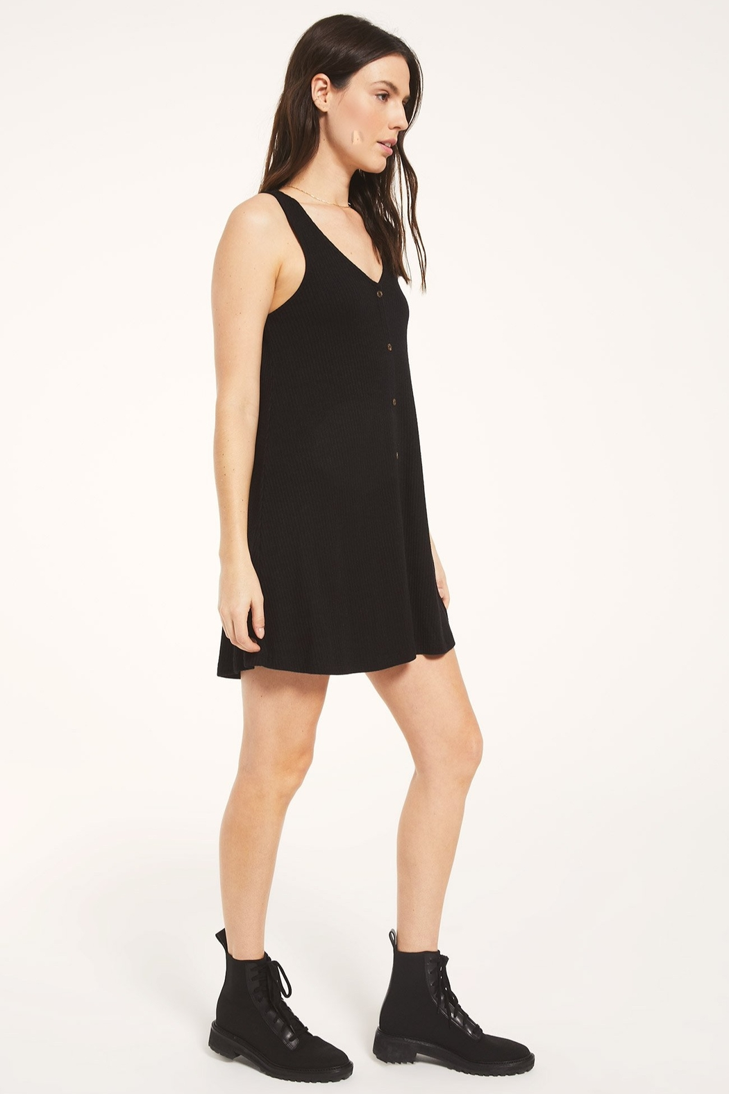 z supply Margo Rib Button Up Dress - Front Full Image
