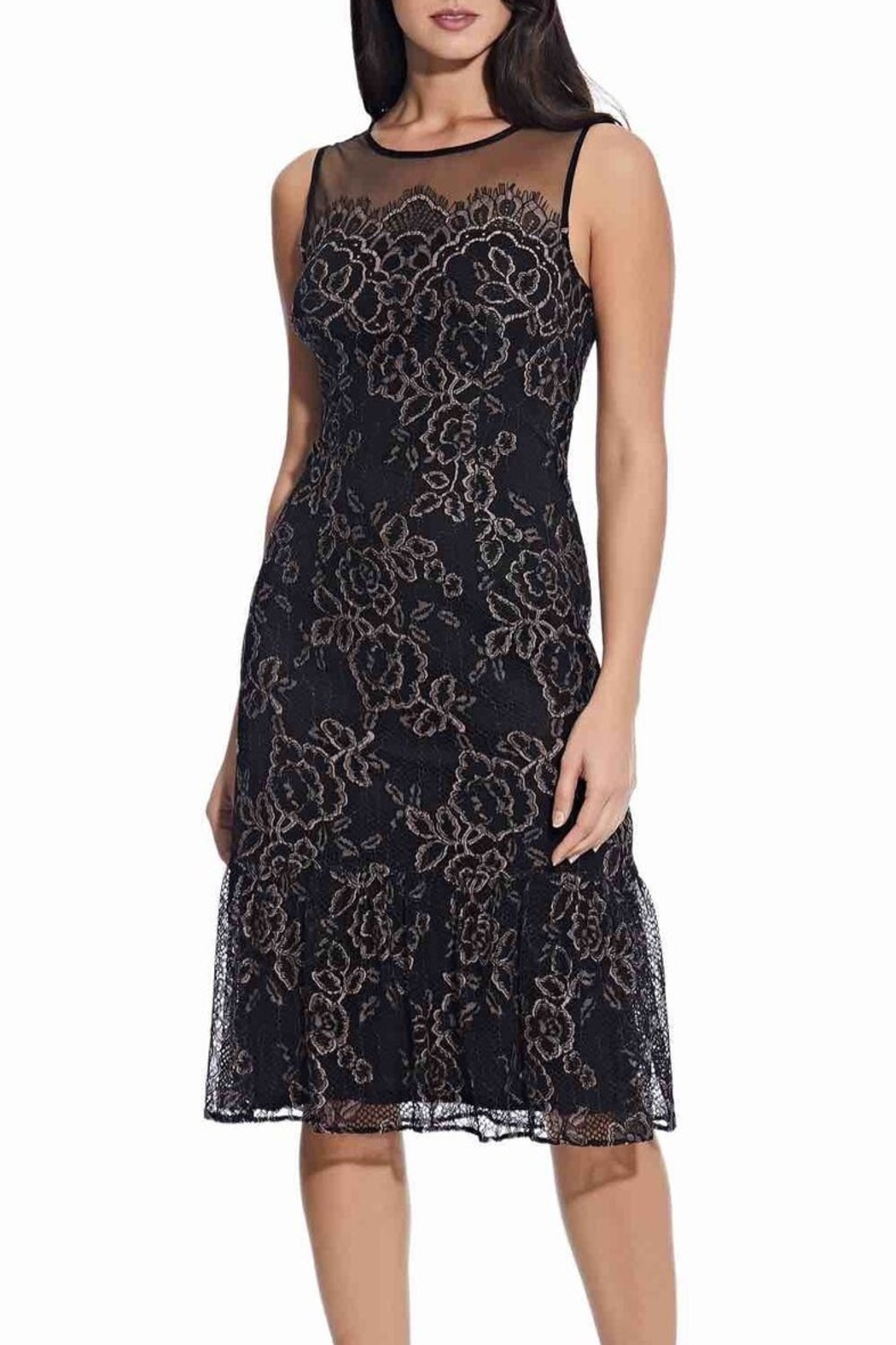 Adrianna Papell Maria Lace Midi Dress - Front Cropped Image