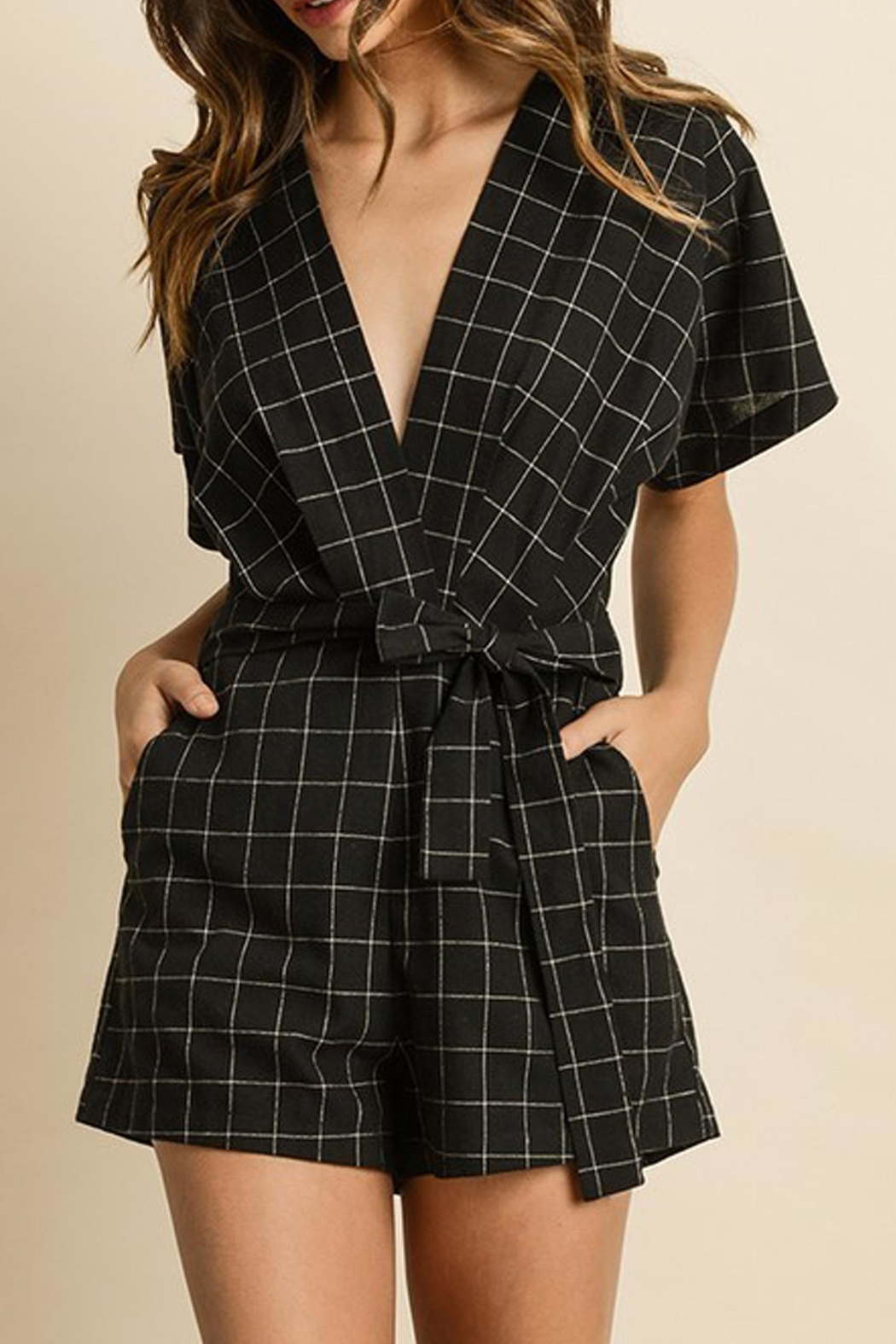 dress forum Maria Windowpane Romper - Front Cropped Image