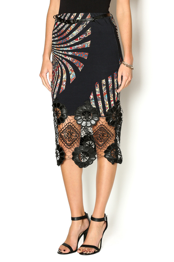 Mariagrazia Panizzi Lace Leather Skirt From Fredericksburg By Cose Belle Boutique Shoptiques
