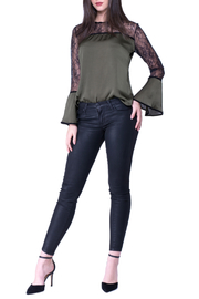 Analili Mariel Olive Blouse with Lace Detail - Product Mini Image