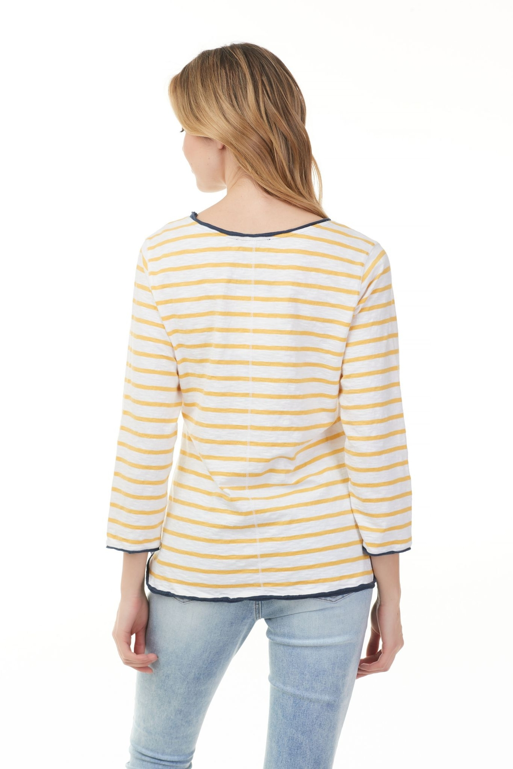 Charlie B.  Marigold and White Stripe Tee - Front Full Image