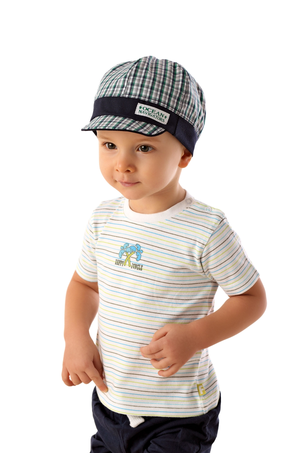 Marika Blue/green Check Cap - Front Cropped Image