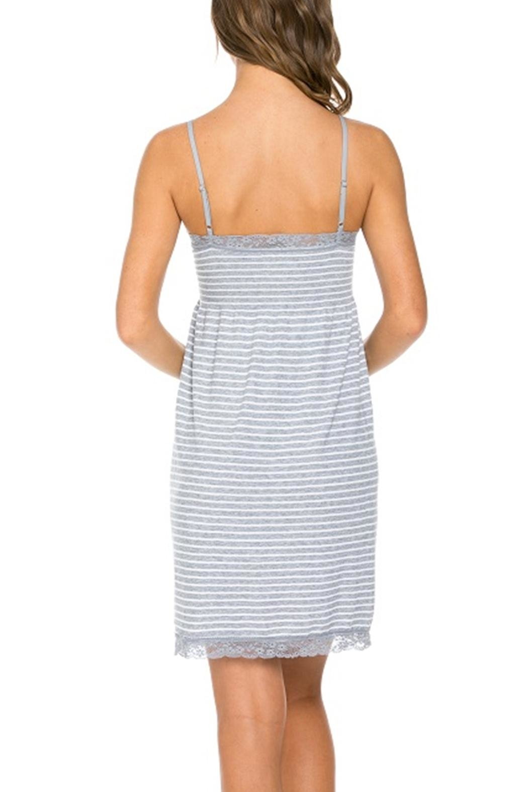 Marilyn Monroe Intimates Stretchy Grey-Stripe Nightgown - Side Cropped Image
