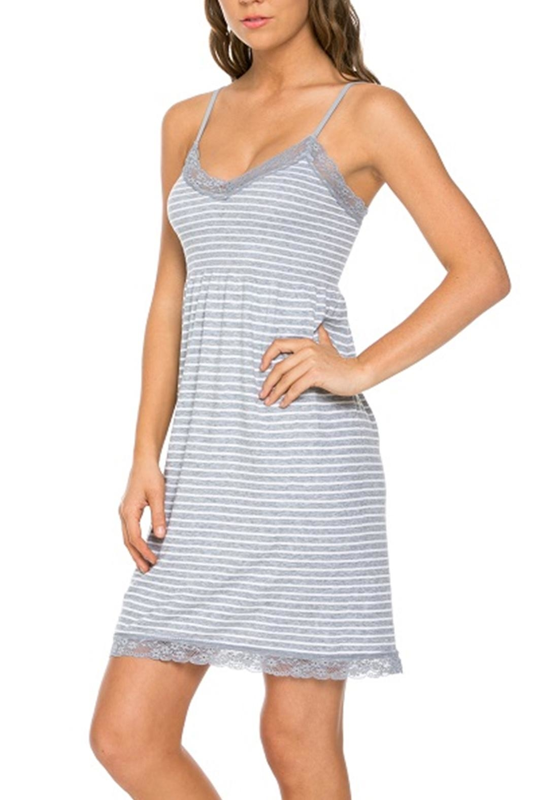 Marilyn Monroe Intimates Stretchy Grey-Stripe Nightgown - Front Full Image