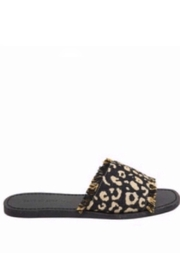 Band Of Gypsies Marina Leopard Woven Canvas Slide Sandal - Black - Side cropped