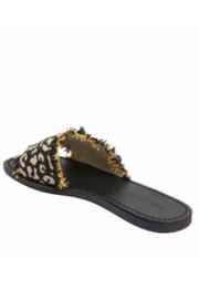 Band Of Gypsies Marina Leopard Woven Canvas Slide Sandal - Black - Front full body