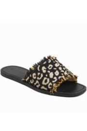 Band Of Gypsies Marina Leopard Woven Canvas Slide Sandal - Black - Front cropped