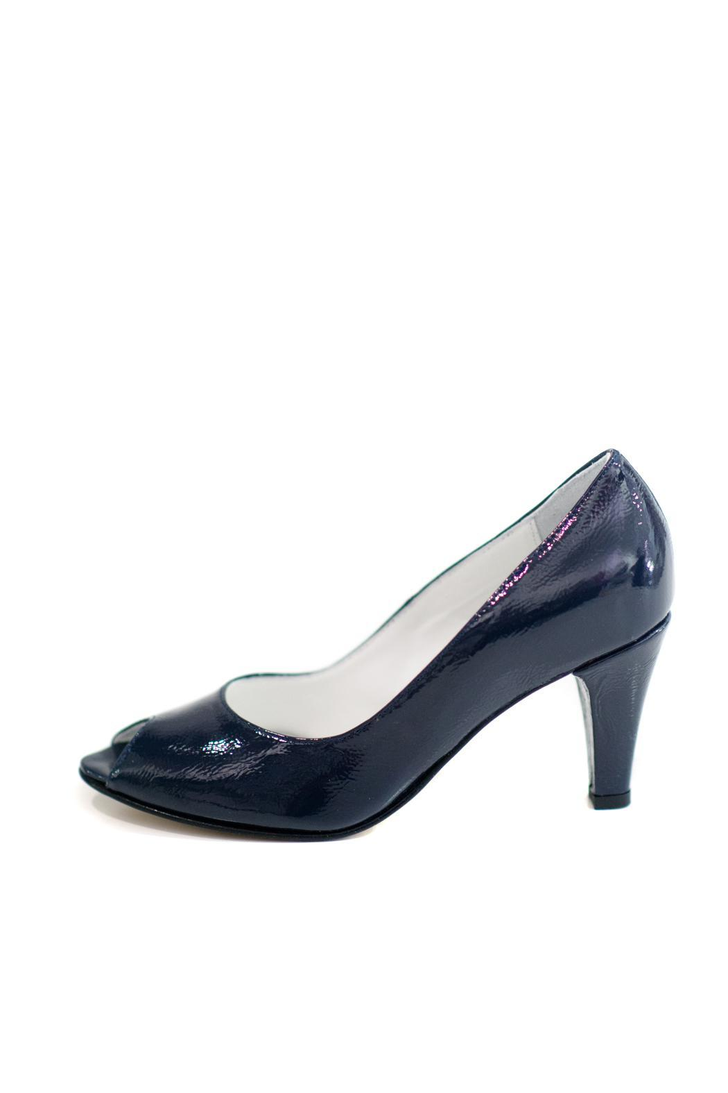 MARINA FERRANTI Navy Blue Patent Leather Pump - Front Cropped Image