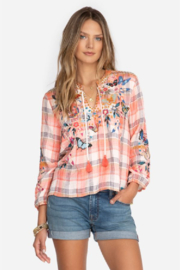 Johnny Was Mariposa Plaid Peasant - Front cropped