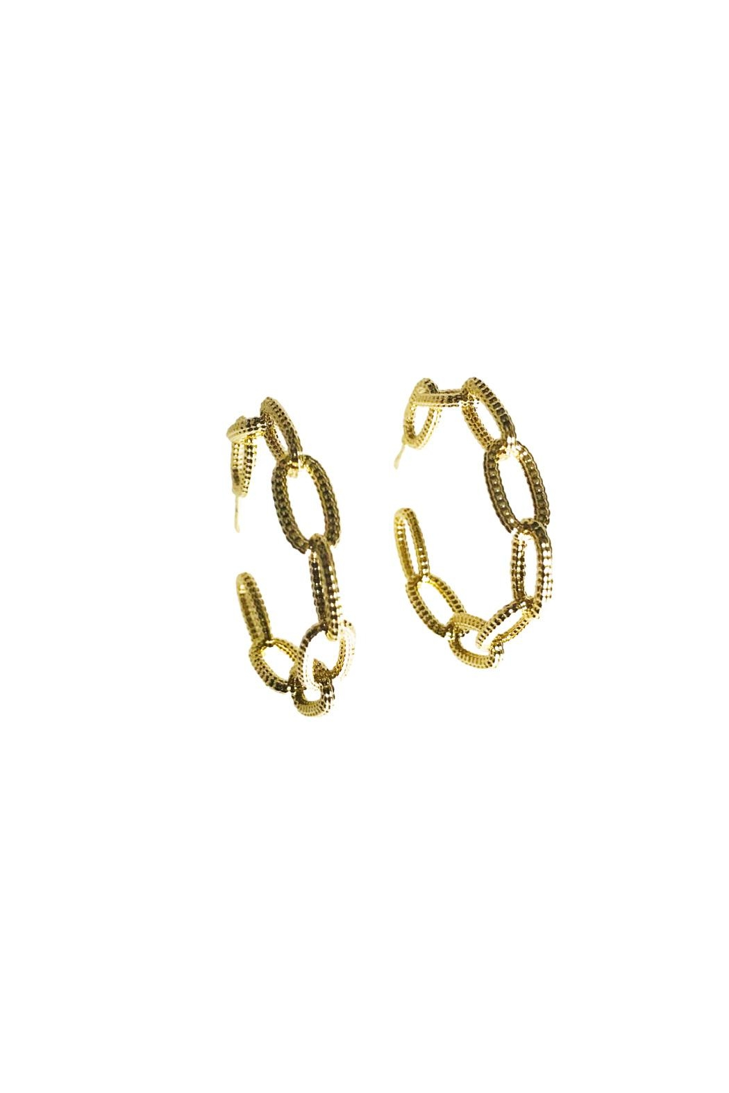 Market and King Textured Chain Hoops - Main Image