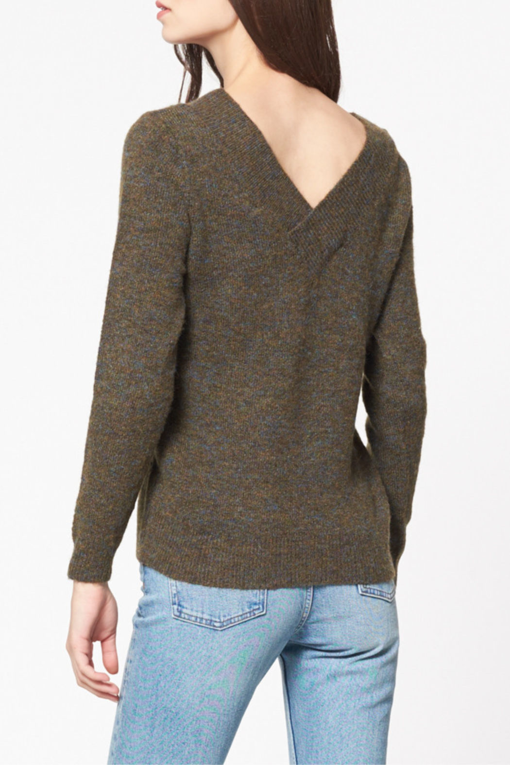 Best Mountain Marled Crossover V Neck Sweater - Front Full Image