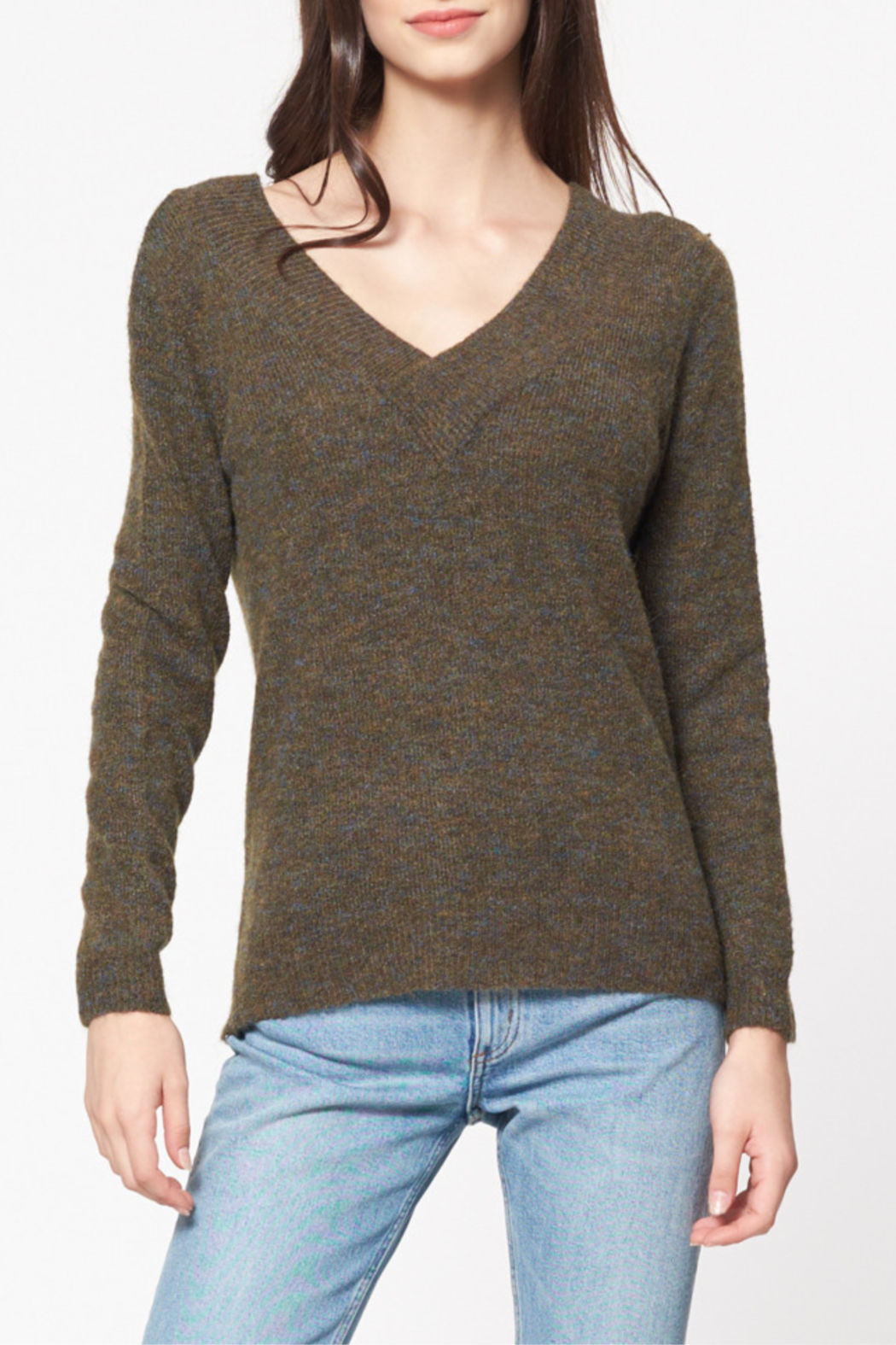 Best Mountain Marled Crossover V Neck Sweater - Main Image