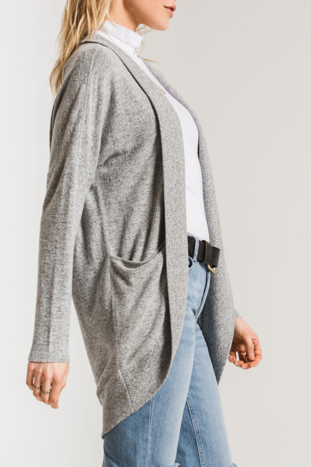 z supply Marled Knit Cocoon Sweater - Front Full Image