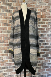 Sioni Marled Long Sweater Cardigan - Front cropped