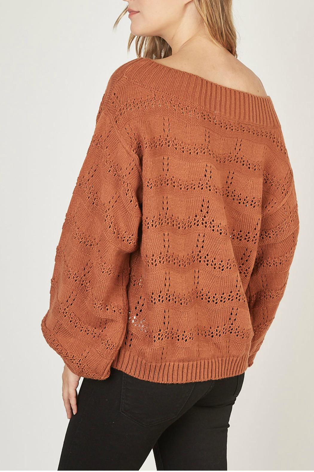 Mustardseed Marled open-knit sweater - Side Cropped Image