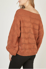 Mustardseed Marled open-knit sweater - Side cropped