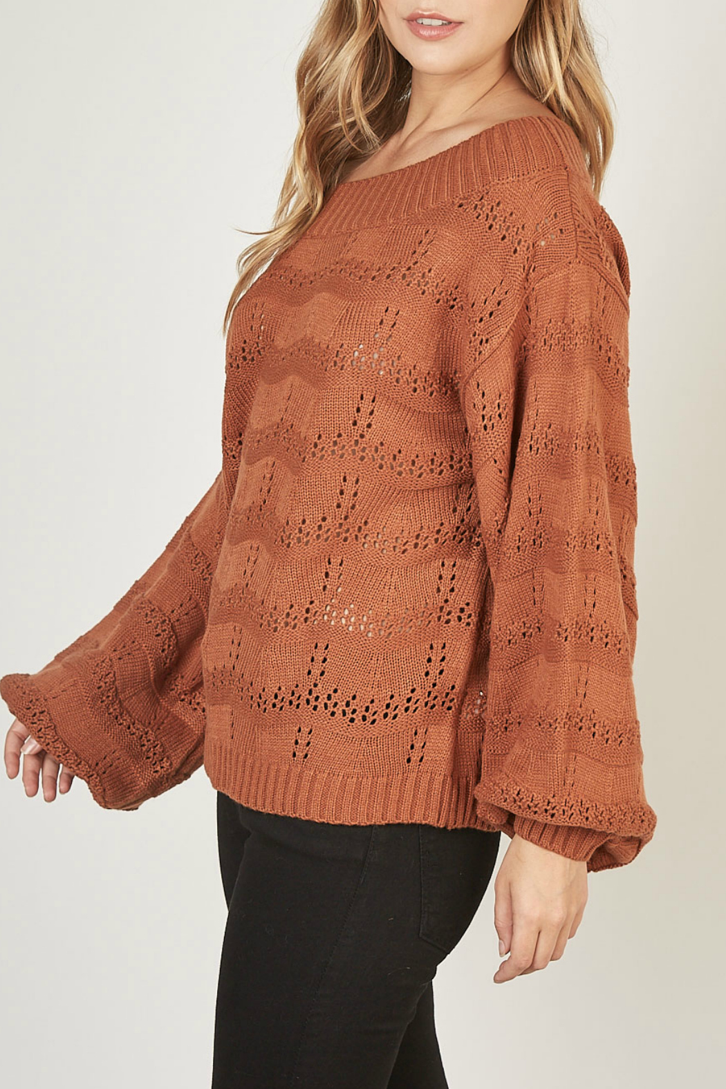 Mustardseed Marled open-knit sweater - Front Full Image