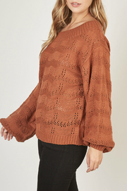 Mustardseed Marled open-knit sweater - Front full body