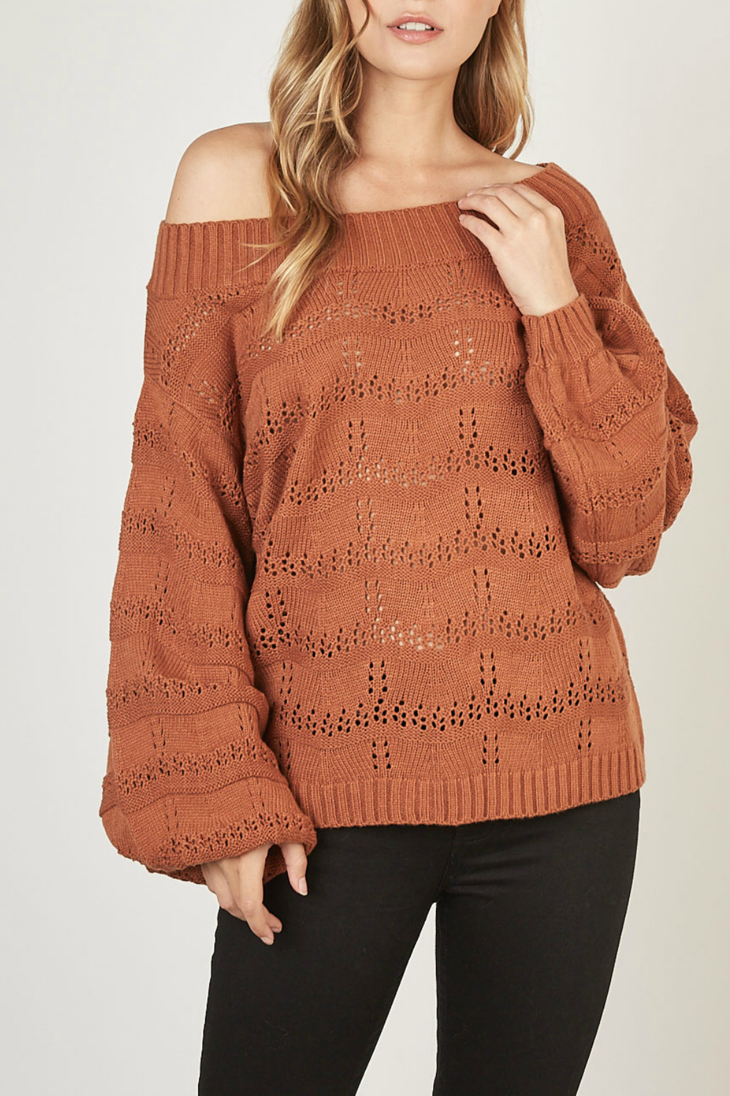 Mustardseed Marled open-knit sweater - Main Image