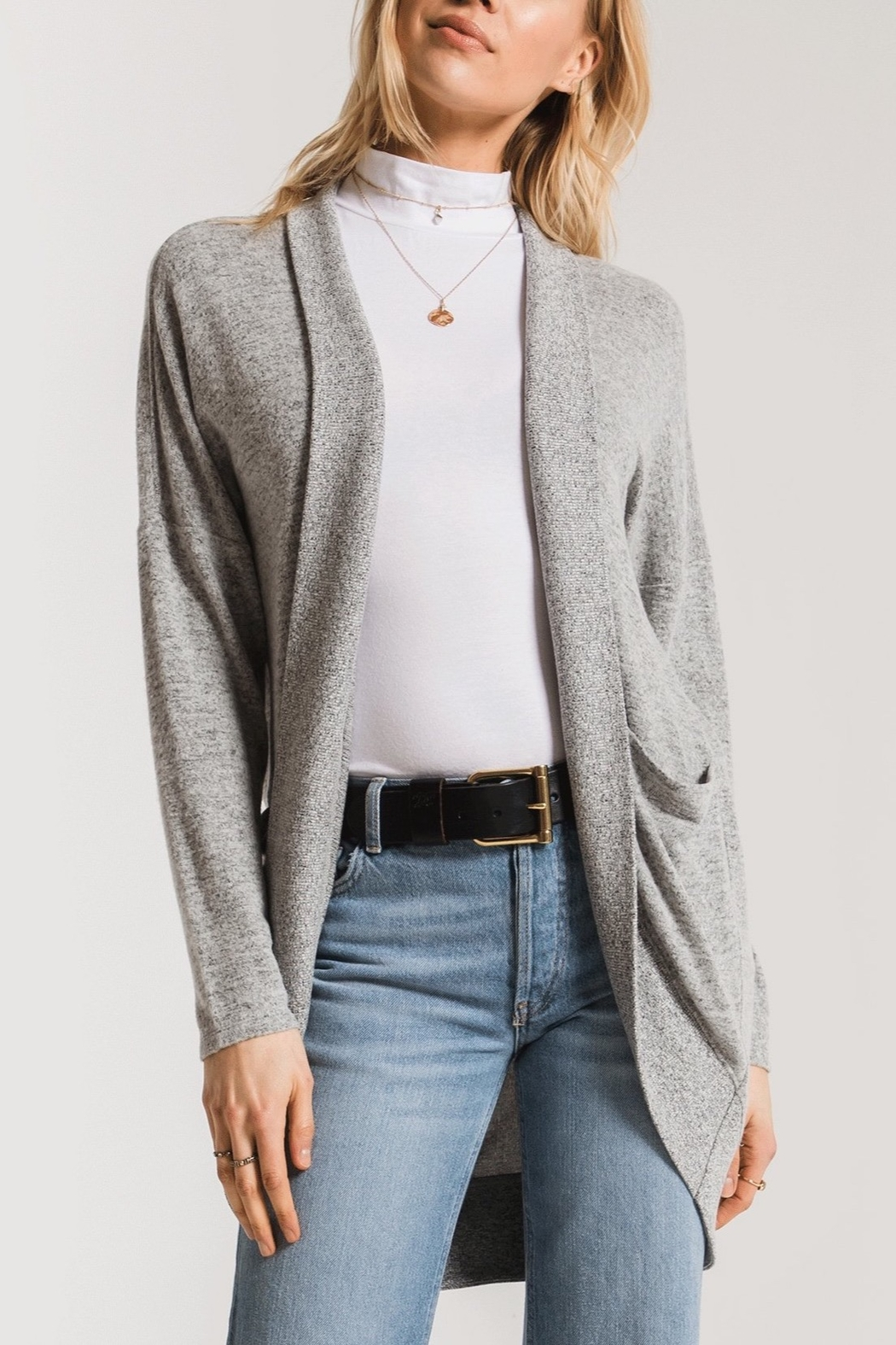 z supply Marled Sweater Knit Coccoon Cardigan - Main Image