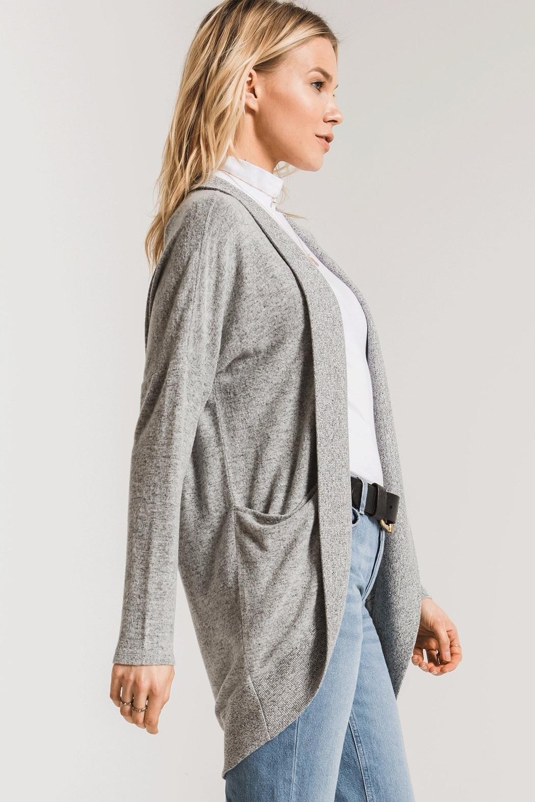 z supply Marled Sweater Knit Coccoon Cardigan - Side Cropped Image