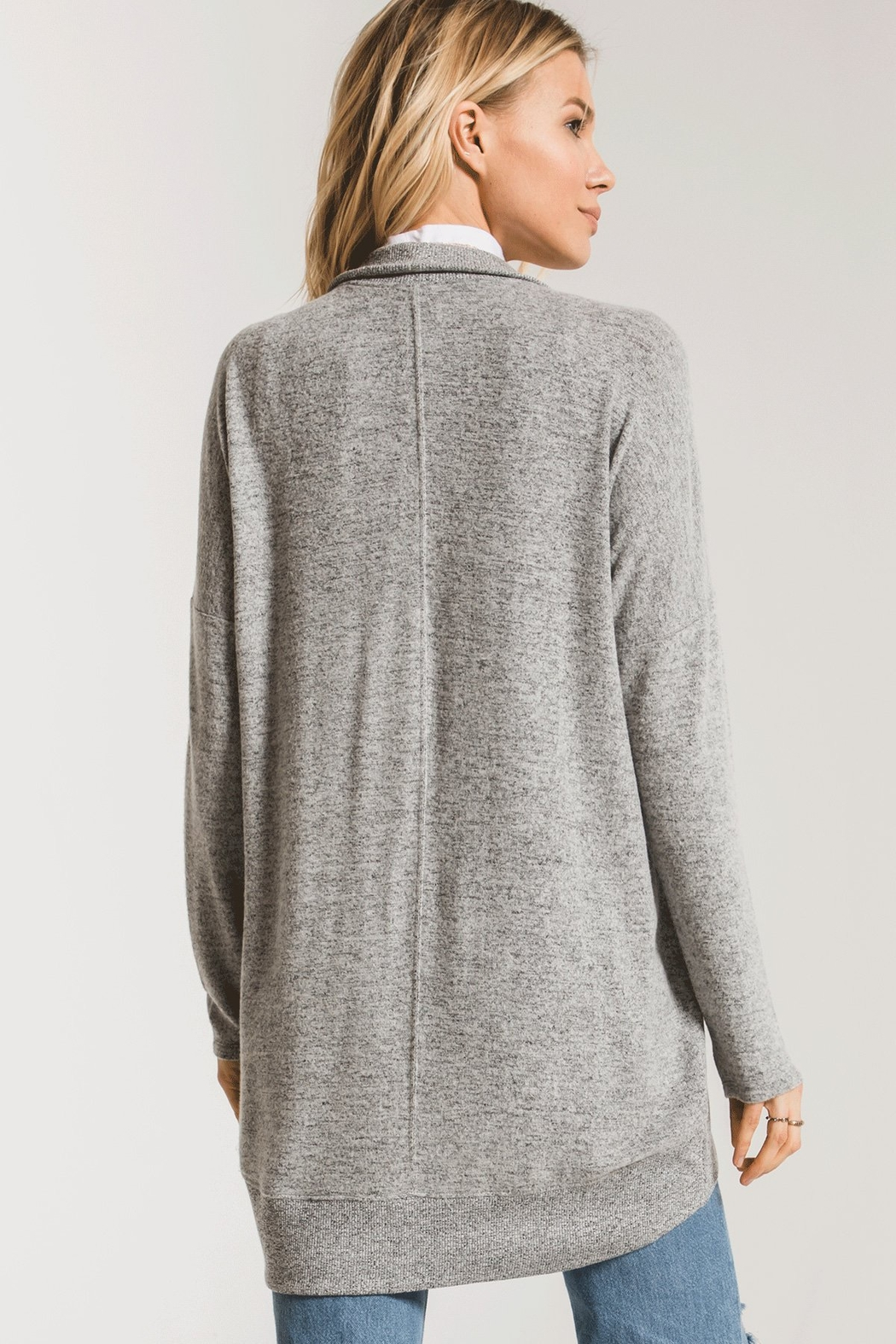 z supply Marled Sweater Knit Coccoon Cardigan - Front Full Image