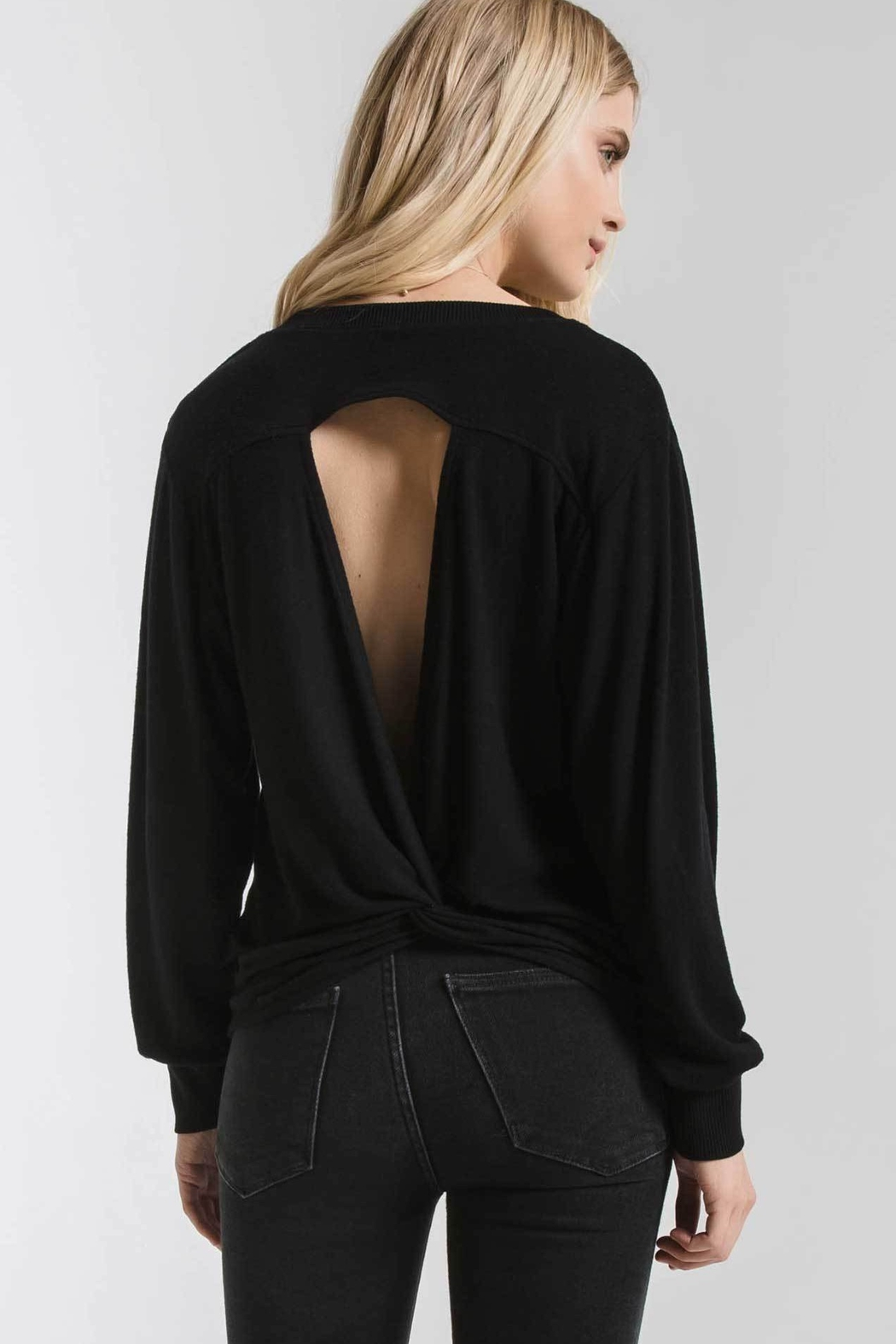 z supply Marled Twist Back Sweater - Front Full Image