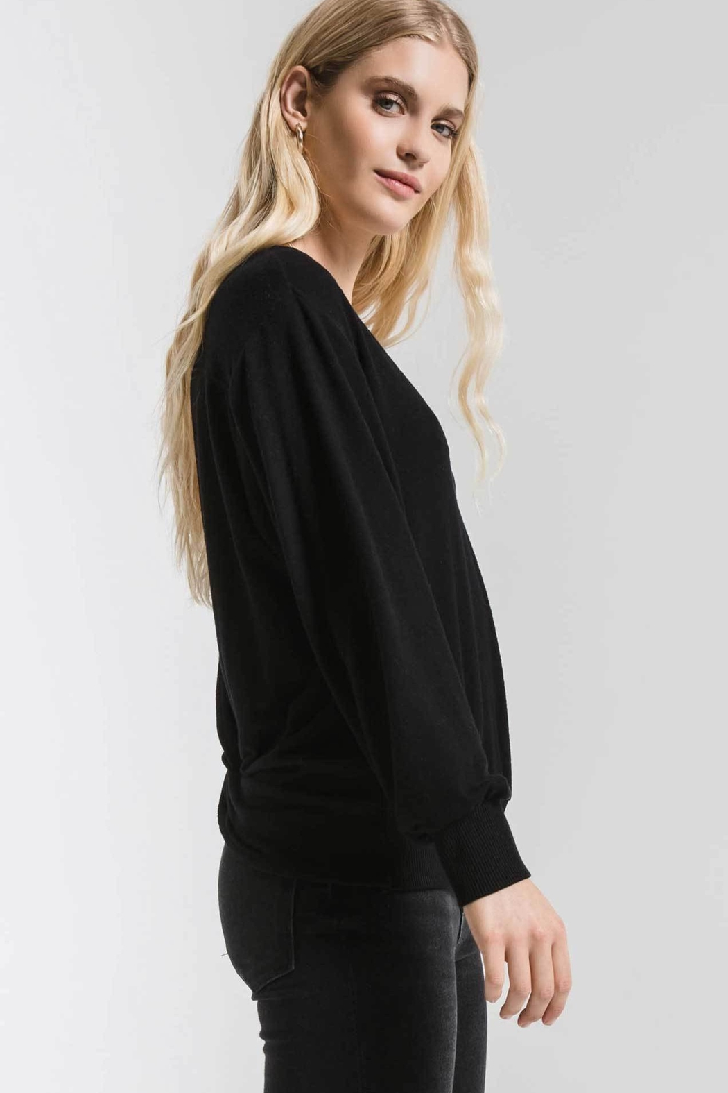 z supply Marled Twist Back Sweater - Side Cropped Image