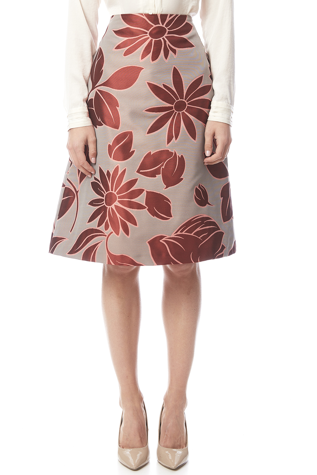 Marli Parmi Floral Brocade Skirt - Side Cropped Image