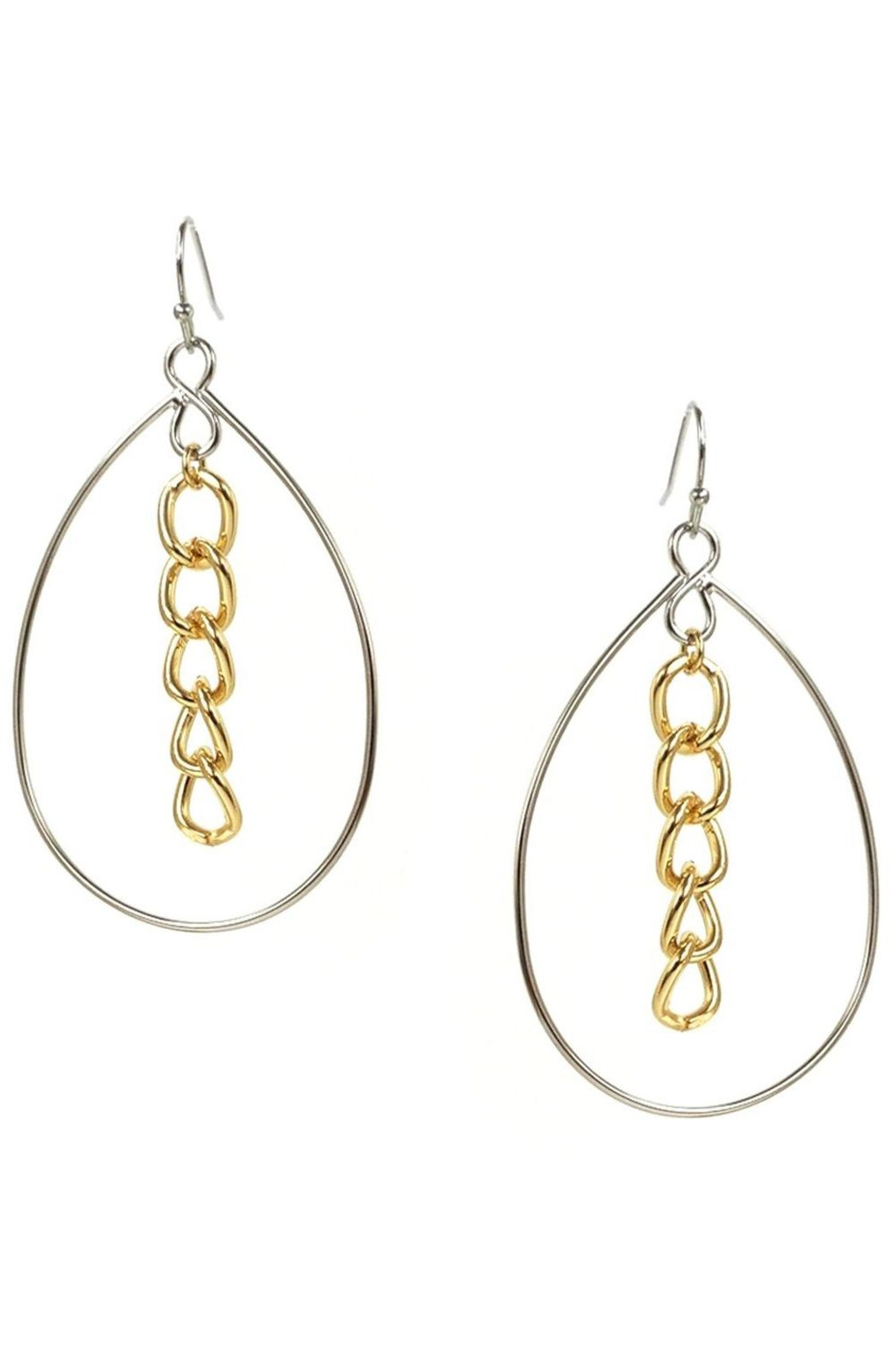 Marlyn Schiff Open Teardrop With Chain Link Center - Front Cropped Image