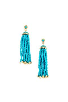Shoptiques Product: Turquoise Tassel Earrings