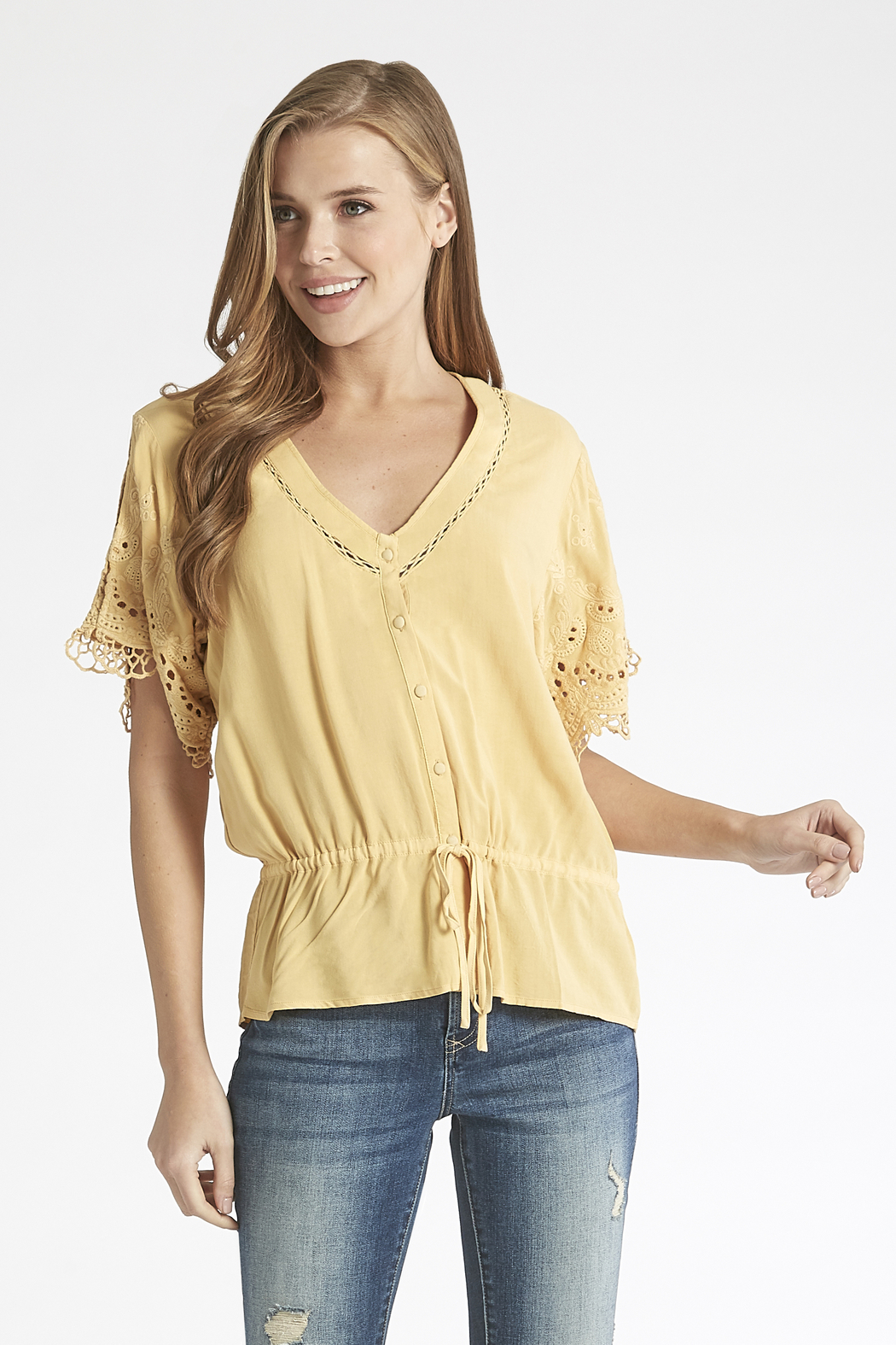 Dear John Marnie Overdyed Lace Sleeve Top - Main Image