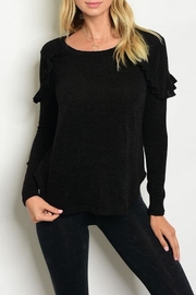 Maronie  Black Ruffle Sweater - Front cropped