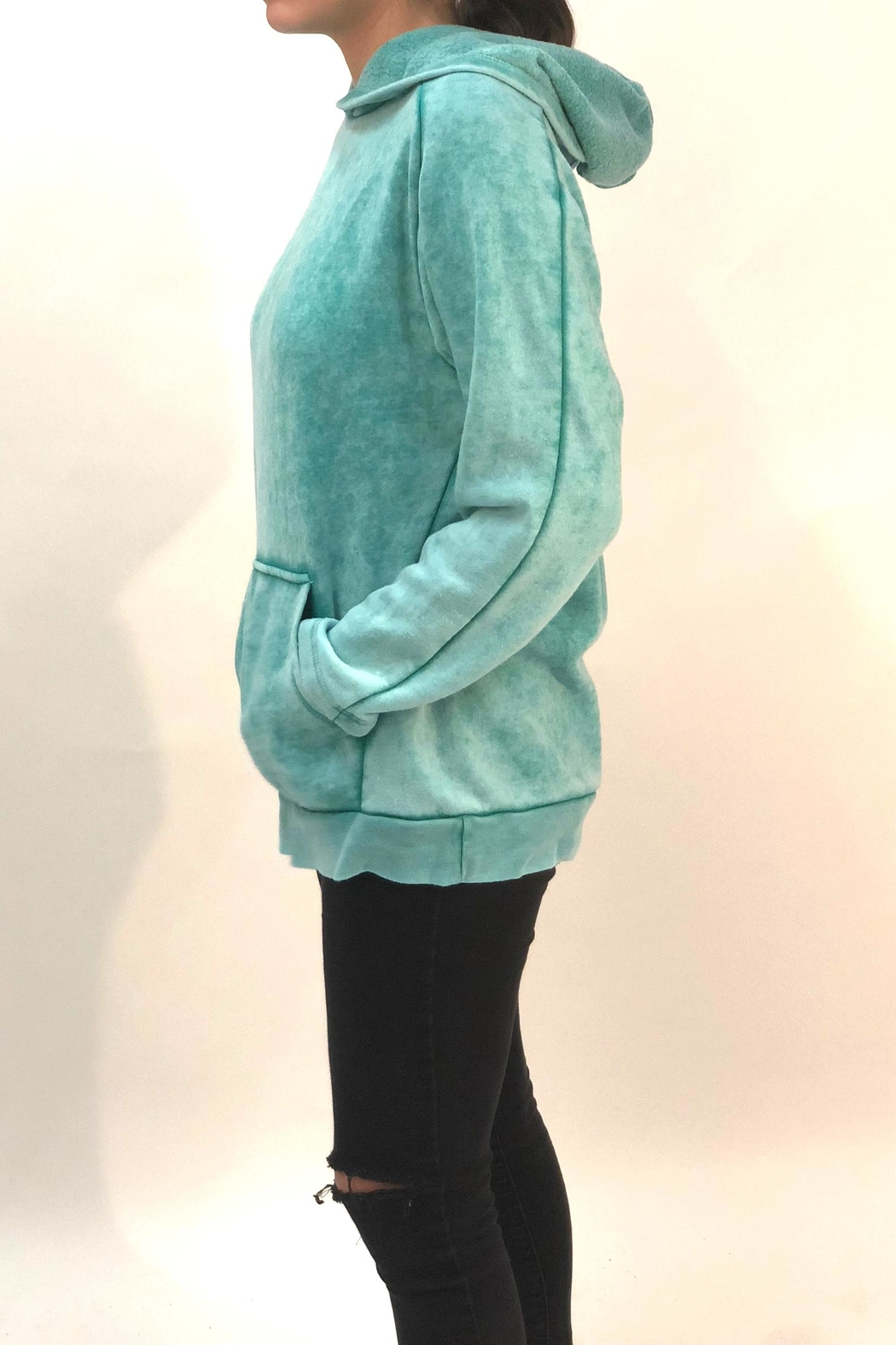 Maronie  Green Washed Hoodie - Front Full Image